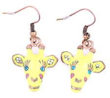 Elegant and lovely enamel giraffe dangle charm earrings