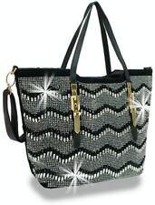 BLACK BLING TOTE HANDBAG Bling Chevron Woven Handbag W/ SHOULDER STRAP GOLD TRIM