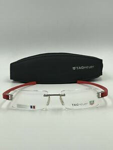 Brand New Tag Heuer Eyeglasses 7103 003 silver/red Mens Rimless w/case