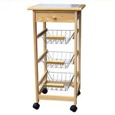Küchenwagen Holz mit Schublade - Servierwagen Rollwagen Küchentrolley Teewagen