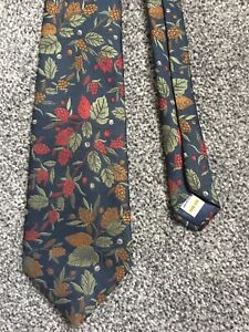 """St Michael navy blue vintage floral polyester classic tie 3.25"""" wide 55"""" long"""