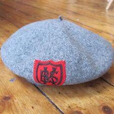 Kangol Hat Vintage School Uniform Beret Style KBS Red Shield Crest Wool Grey