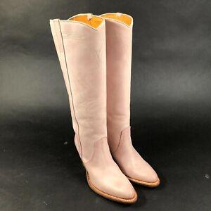 FRYE Dorado Heeled Boots Knee High Pink Leather Cowboy Western Womens 6 M