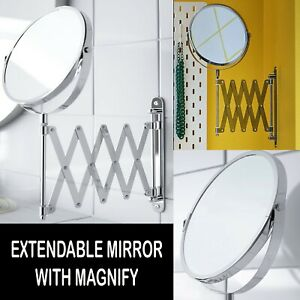 EXTENDABLE MIRROR STAINLESS STEEL ROUND SHAVING WALL MOUNTABLE MAGNIFYING GLASS