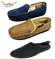 New Mens DR KELLER Navy Tan Moccasin Mule Lined Slippers Size 6 7 8 9 10 11 12
