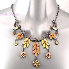 Retro Eame Enamel Shabby Chic Nature Flower Leaves Necklace w Swarovski Crystals