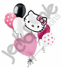 7 pc Hello Kitty Head Pink Bow Happy Birthday Balloon Bouquet Decoration Savario