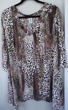Women's R ROUGE Animal Print Asymmetrical Hem Tunic Top Plus Size 2X 18W