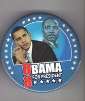 2008 CIVIL RIGHTS + Senator Barack OBAMA Campaign pin  Dr. Martin Luther KING