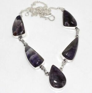 "Banded Amethyst Gemstone Ethnic Handmade Necklace Jewelry 17"" JW"