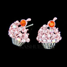 w Swarovski Crystal ~Strawberry Cupcake Baker Baking Food Lover Dessert Earrings