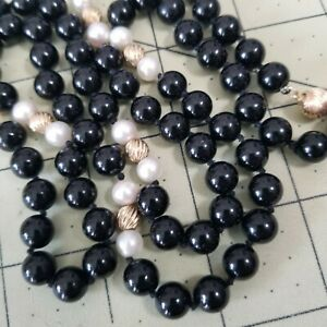 "Vtg 30"" Black Onyx Pearl 14k 585 Yellow Gold Ribbed Beads Necklace 60g Knotted"