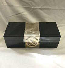 "New C WONDER ""N"" Brass Monogram Initial Black Lacquer Jewelry Trinket Box NWT"