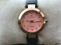 Tavan Ladies Watch Pink Face Gold Tone Case Black Leather Band Water Resist 3ATM