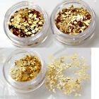 Gold Nail Art Sequins Mermaid Glitter Scissors Key Flower Tips Decoration