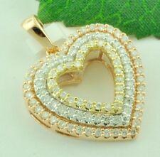 14k Tri Gold Natural diamond open heart pendant