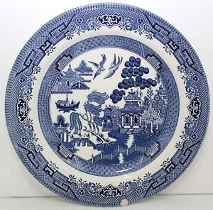 """Vintage Churchill Blue Willow 10 1/4"""" Dinner Plate Made in Staffordshire England"""