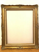 Gilded Baroque Style Picture Frame w. Linen Insert - Fits Painting 16 x20 Inches