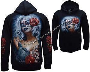 Gothic Angel Biker Tattoo Goth Glow In Dark Zip Zipped Hoodie Hoody Jacket