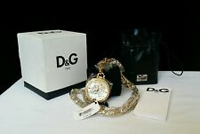 Dolce and Gabbana Secret Service Chain Watch DW0262 Gold Plated Original Tag Box