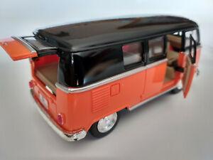 VW Bus Combi Volkswagen T1 1962 orange et noir 13cm neuf metal