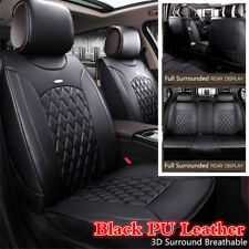 Full Set Black Luxury Wearproof PU Leather Car Seat Cover Cushion Pad Protector