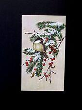 Unused Heritage Tasha Tudor Xmas Greeting Card Finch on Snow Covered Branch