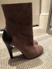 Gucci Stiefeletten Damen Stiefel  Ankle Boots 38.5 Beige Braun Wildleder Suede