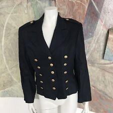 Vintage Neiman Marcus Dark Blue Linen Military Style Women's Blazer Jacket 12