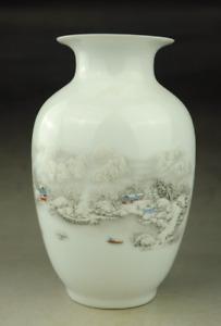 chinese old hand engraving porcelain white glaze landscape vase pretty