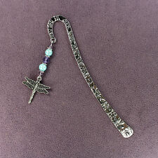 DRAGONFLY TOTEM BOOKMARK Charm Blue Purple Crystal Silver Butterfly Flower Magic