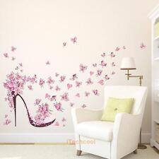 Pink Butterfly High Heel Vinyl Wall Sticker Bedroom Living Room Mural Wall Decor
