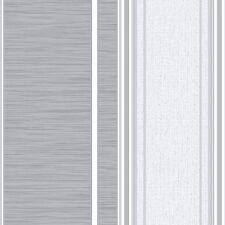 NEW Crown Manhattan Stripe Textured Grey  & Silver Wallpaper - M0888