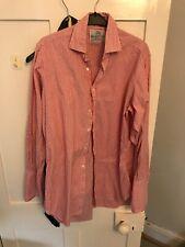 "Harvie & Hudson 15.5/29"" 100% Cotton Red Stripe  Shirt DOUBLE Cuff REG FIT"