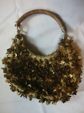 Women's Golden Brown Purse Size Small Wooden Handle Button Close New