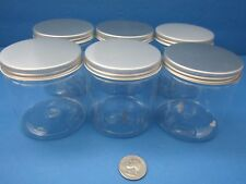 6pk PET Plastic 4 oz Clear Jars Silver Cap BPA Free Cream Cosmetics Crafts Spice