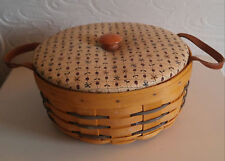 Longaberger Basket 1998 Round Fall Basket w Cloth Liner & Leather Strap Handles