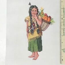 Sandra Gilmore Handpainted Needlepoint Canvas Little Feather native Thanksgivin