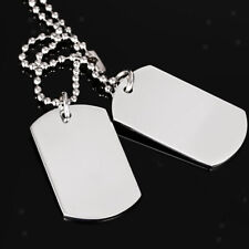 Stainless Steel Double Dog Tag Military Pendant Chain Silver Chain Necklace