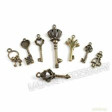 40pcs New Crafts Assorted 8 Antique Bronze Key Charms Pendants Findings Lots BS