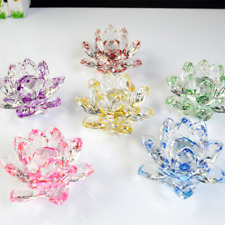 Colorful Crystal Glass Lotus Flower Natural Stones Feng Shui Decor Paper Weight