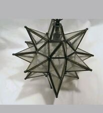 Moravian Star Mirrored Glass Pendant Leaded Ceiling Light Fixture
