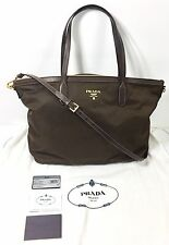NEW $795 PRADA Tessuto Saffiano Nylon Tote Bag Brown Saks Fifth Ave BR4257