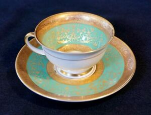 Stunning Antique Rosenthal Selb Plossberg Gold Encrusted Aida Demitas And Saucer