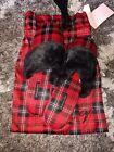 Victoria secret satin slippers brand new size medium 7/8 red plaid