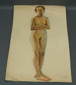 1920 Russian Art Watercolor Drawing Nude Naked Figure Woman with Pearle Neckless