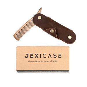 Gents Mens Mustache Pocket Folding Leather Wooden Beard Grooming Hair Comb Brown