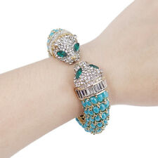 Panther Leopard Animal Bangle Cuff Turquoise Blue Austrian Crystal Gold Tone