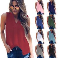 Women Summer Chiffon Solid V Neck Tank Tops T Shirt Casual Loose Tunic Blouse