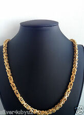 Stainless Steel Byzantine Box Chain Necklace Bracelet set 6.4mm 2 tone
